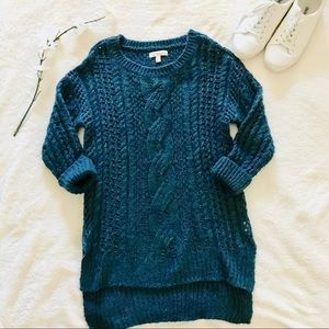 $5 W/ BUNDLE JJ Basics Teal Cable Knit Sweater